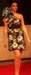 Black floral one-shoulder dress with shoulder bow by Bebhinn Flood