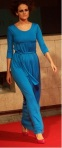 Floor length sky blue pleated dress by Heidi Higgins