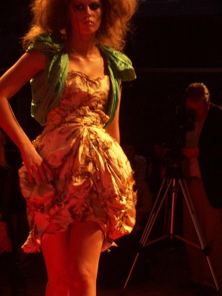 Tea stained, singed cream corset cream corset dress with green bolero by Emily Jones