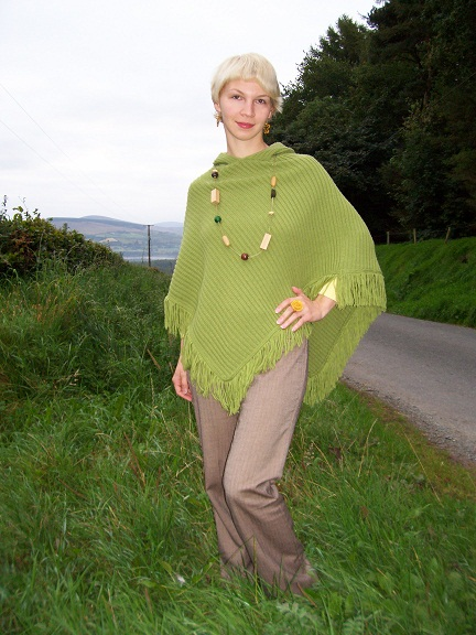 I am waeing my favourite green poncho I found in a charity shop!