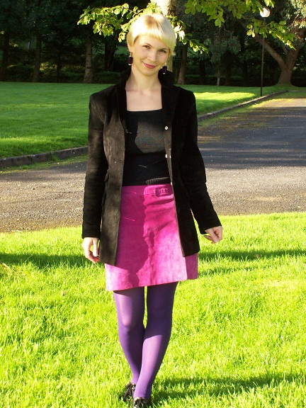I found this black suede at swopwith.me and since then we are inseparable. The pink suede skirt is a charity shop finding.