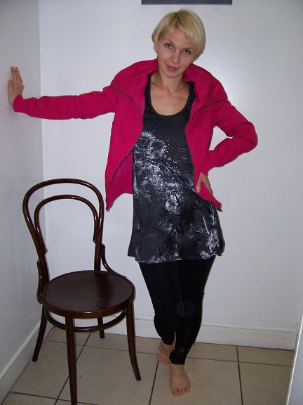 Love the gothic vest with girlie pink jacket!