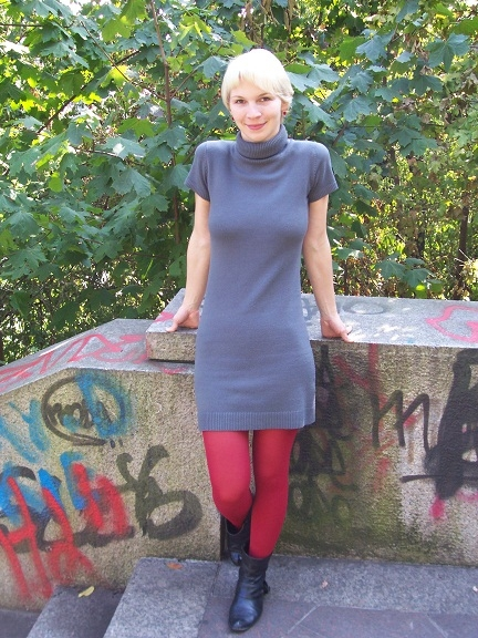 "My signature ""What I Wear"" style - colourful tights, flat boots and a grey dress"