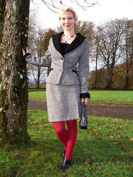 I gave the vintage tweed suit a modern twist with red tights and accessories