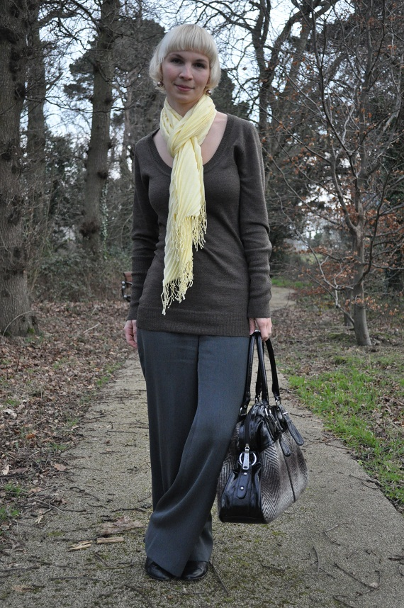 Loose Pants - Thrifted, Long Jumper - Philip Russel, Oversised Bag - Pilar Abril, Shoes - M&S, Pleated Scarf - Dunnes, Earrings - handmade