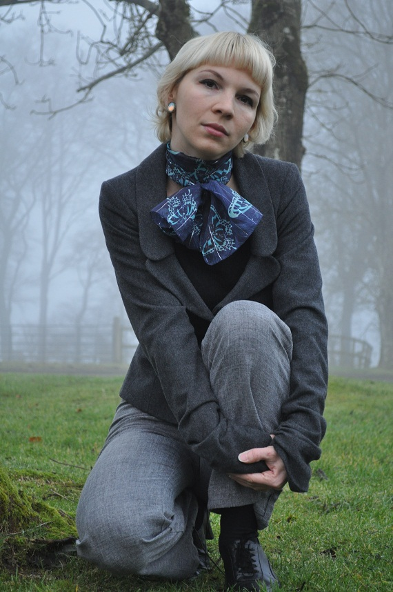 Victorian style jacket - aWear, Scarf - Penney's, Vintage earrings - gift from my grandmother, Top - purchased 7 years ago in Hungary