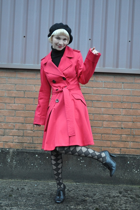 Wearing a Trench and a Beret
