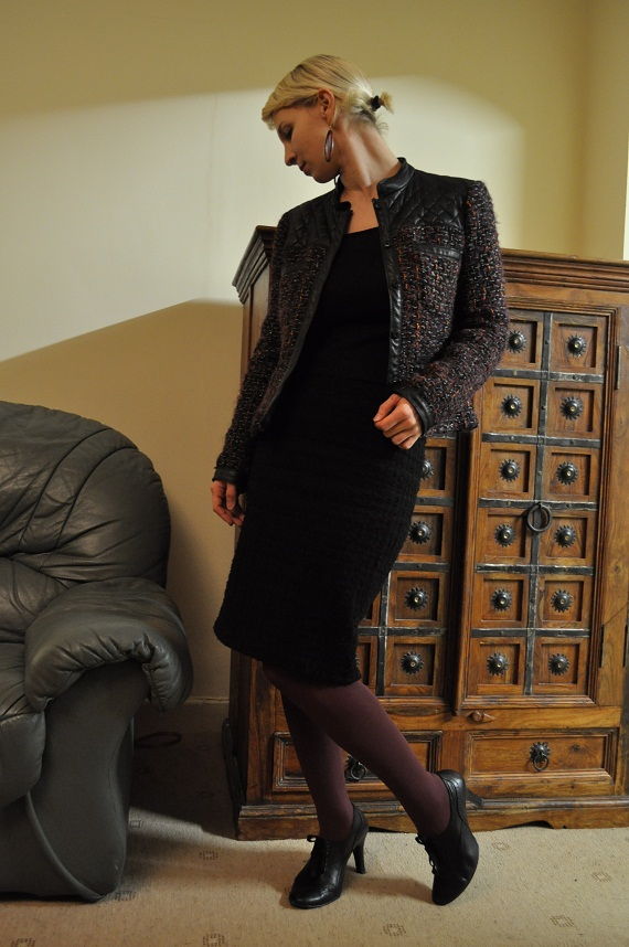 Chanel Style Jacket and Pencil Skirt - Zara, Tights - Oasis, Shoes - M&S, Top  - purchased 7 years ago in Hungary
