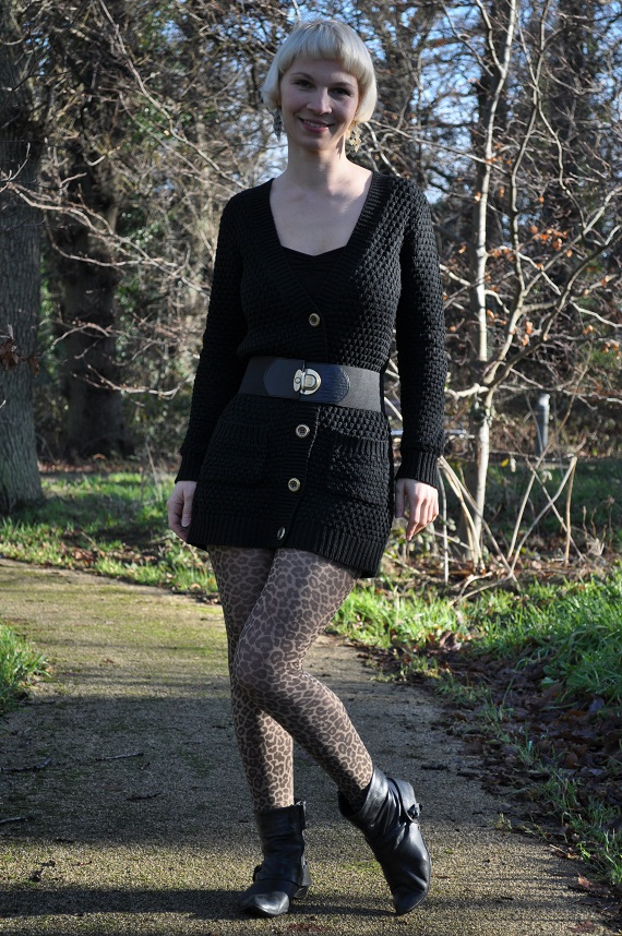 Tights - Oasis, Cardigan and Belt - Penney's, Camisole - Dunnes, Pixie Boots - Clarks, Earrings - Accessories