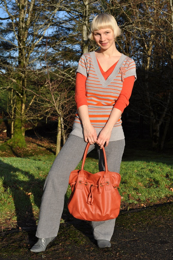 Top - Penney's, Short-sleeved jumper - Philip Russel, Pants - thrifted, Boots -thrifted, Bag - aWear, Earrings - Fair Trade