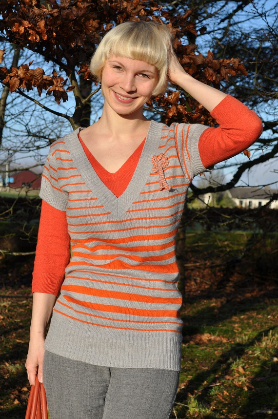 how to wear orange with grey