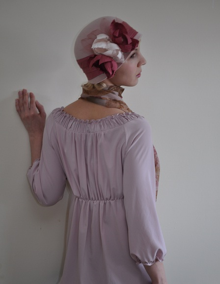 Nude cloche with silk flowers Merlixa Millinery