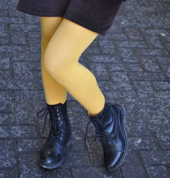Yellow opaque tights from Topshop