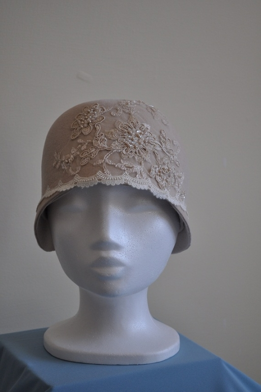 Cream velour cloche with hand stitched lace details