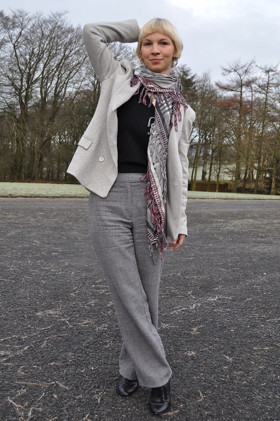 Jersey Boyfriend Blazer - Zara, Trousers - thrifted, Scarf - Zara, Earrings - French Connection, Shoes - M&S