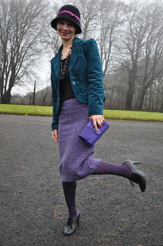 Skirt - thrifted, Blazer - thrifted, Top - 10 years old purchase, Tights - M&S, Necklace - Hickey's, Clutch - Body Shop makup bag, shoes - M&S, Cloche - customised Penney's