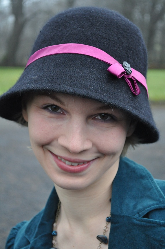 I customised this Penney's cloche with handmade ribbon and a button