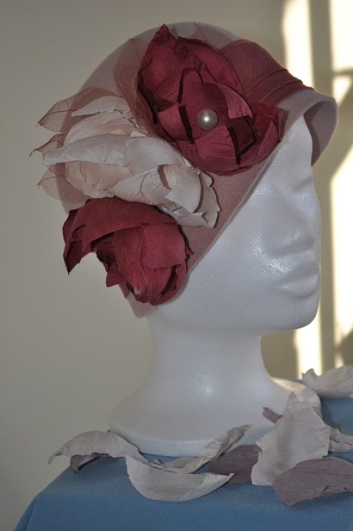 Rose pink velour cloche with silk headband and  flowers handmade to resemble dry roses