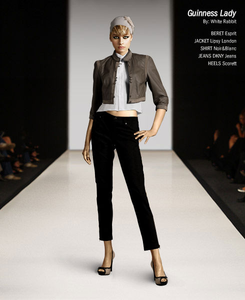 Monochrome Look - cropped pants and cropped jacket